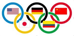 olympics with flags of countries usa germany colombia japan china