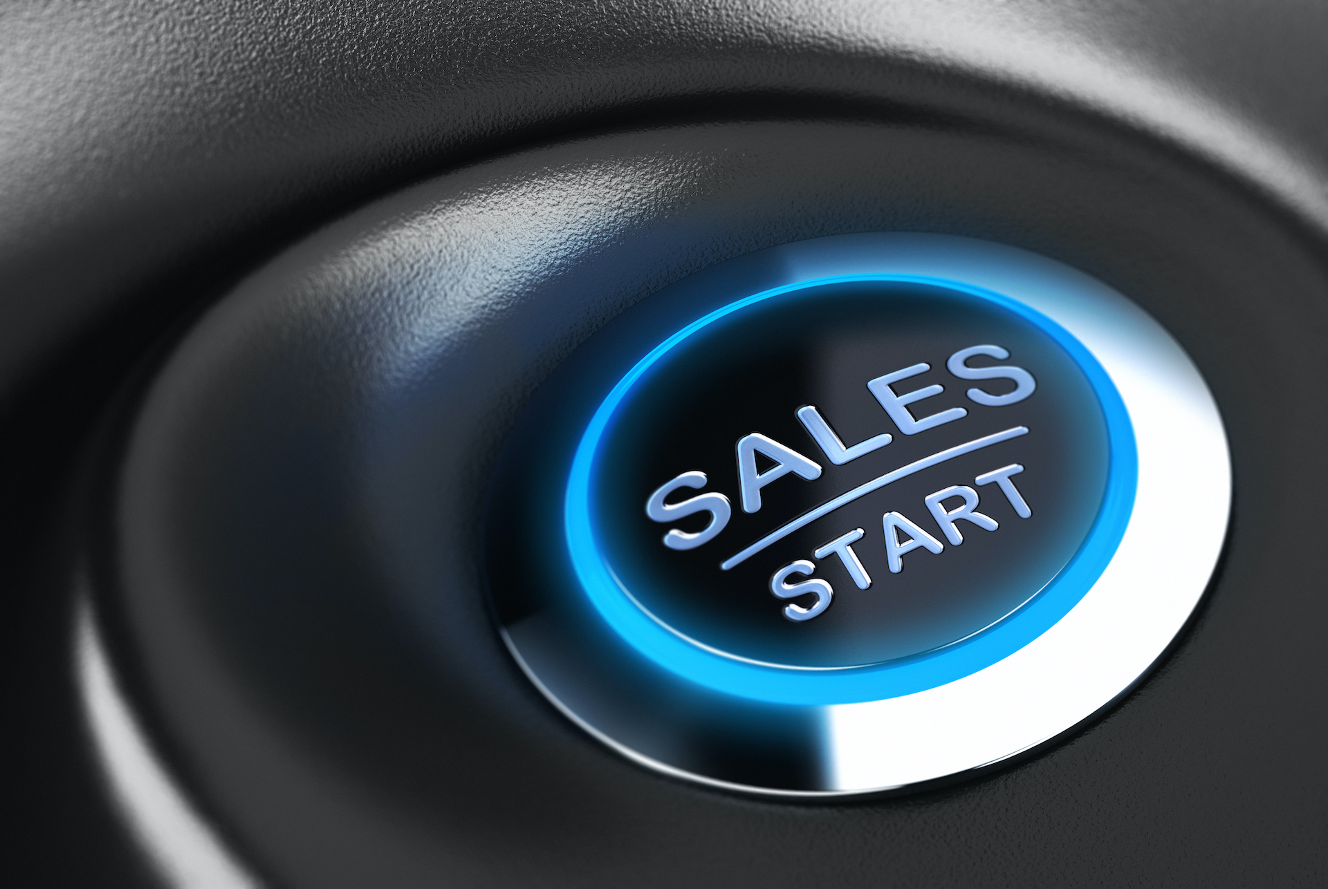 Sales button with blue light