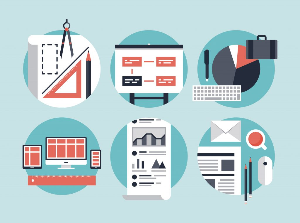 Flat design vector illustration concept icons set of modern business development process