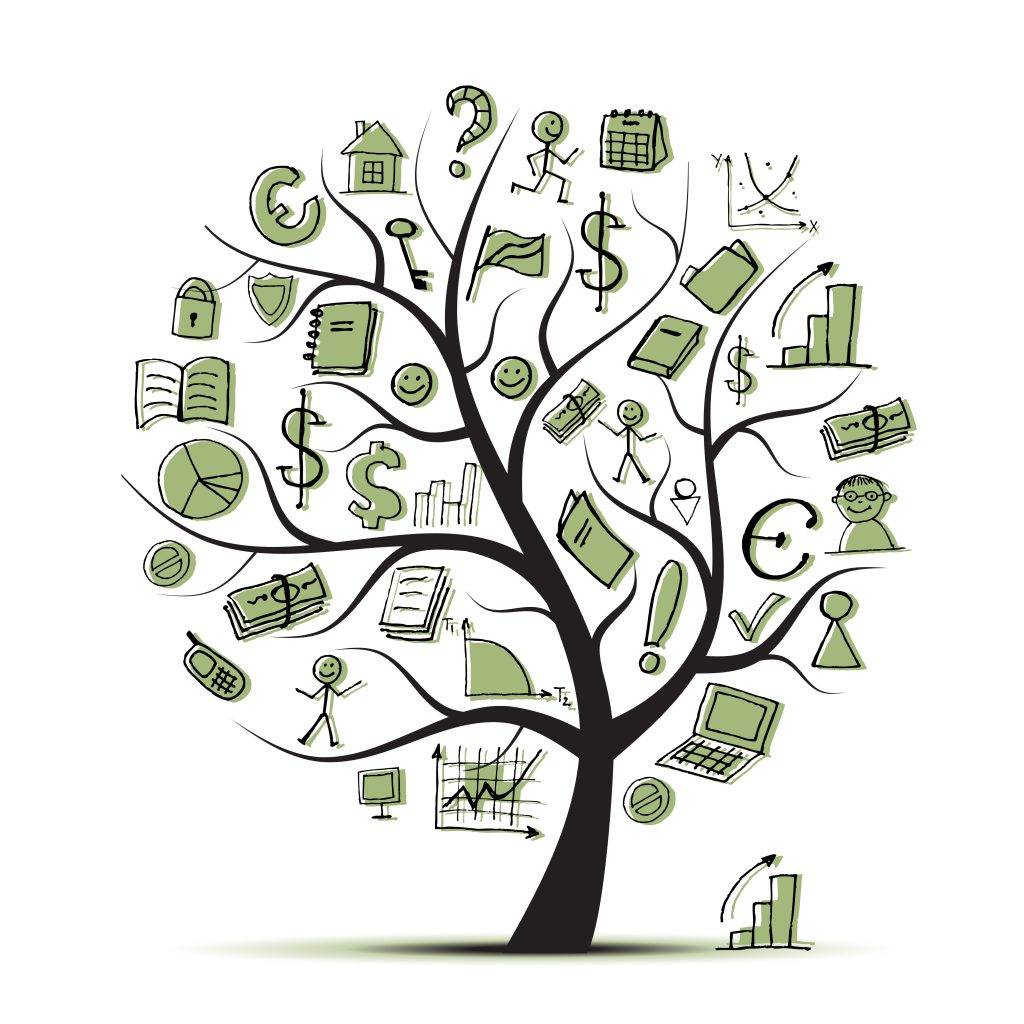 Art tree concept with business icons